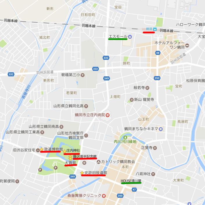 山形鶴岡市内地図